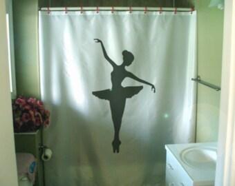 ballerina tutu shower curtain ballet pirouette dance balance art dancing bathroom decor kids bath curtains custom size long wide waterproof