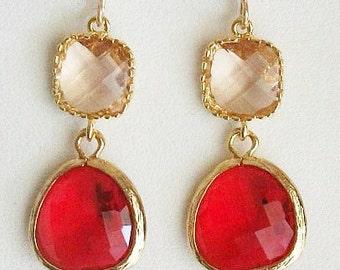 Peach Earrings, Ruby, Champaigne, Gold, glass Earrings, Red, Wedding , Bridesmaid Earrings, Bridal Earrings, Valentine