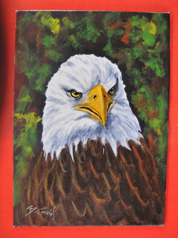 BALD EAGLE PORTRAIT - original acrylic painting on 5x7 canvas panel - ready to frame