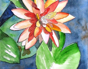 """Original painting in ink and watercolor - water lily - 14 1/8"""" x 10"""""""