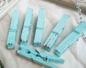 Sky & Chocolate (Blue/Brown) Distressed Mini 2 Inch Clothes Pins Set of 6 - Shabby Chic Banner Holder. Cottage Chic. Baby Shower Decor.