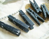 Raven & Tofu (Black/White) Distressed Mini 2 Inch Clothespins Set of 6 - Modern Decor. Shabby Chic Banner. Wedding Place Holder.