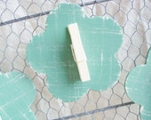 Sage & Cream Distressed Flower Clothes Pin Magnet  - Tea Party Shabby Chic