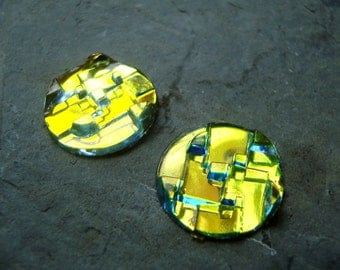Rainbow Iridescent Techie Glass Cabochons - 18mm - Quantity of 2 - Sci Fi, Futuristic, Green Glass