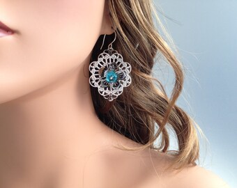 Kinetic Blue Crystal Filigree Flower Earrings with Sterling Silver Ear Wires