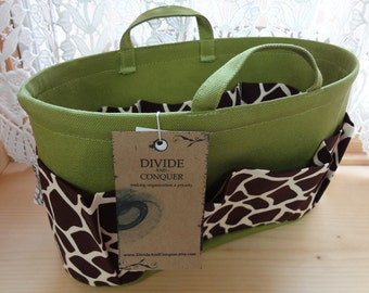 Purse ORGANIZER insert SHAPER with handles / Giraffe on Green / STURDY / 5 sizes available / Bag Organizer