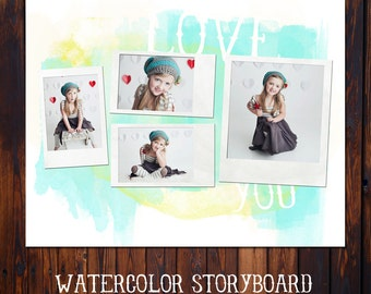 Watercolor Storyboard Template - INSTANT DOWNLOAD