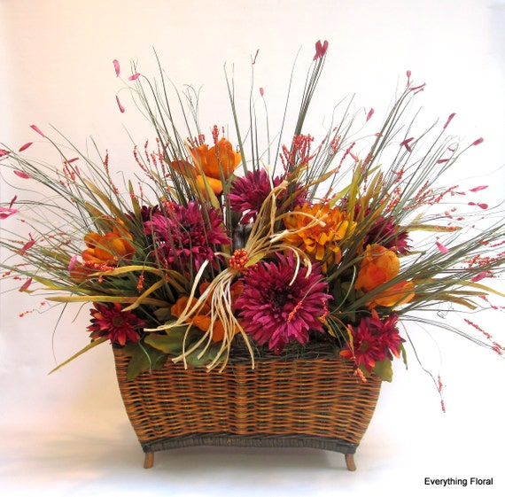 Fall basket centerpiece large décor by everythingfloral