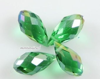 4 Grass Green AB Teardrop Beads Green Crystal Briolette Beads 6x12mm