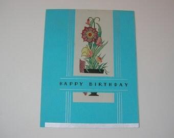 Vintage Art Deco Happy Birthday Card Unused 1920s