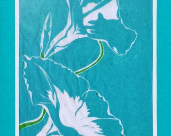 5 Morning Glory Notecards on Turquoise