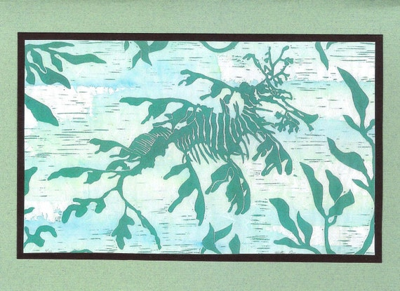 5 Leafy Sea Dragon Notecards on Turquoise or Sage Green