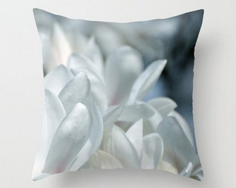 COOL MAGNOLIAS - Fine Art Photography, Pale Blue, White, Pink, Spring Flower, Garden Home Decor, Dreamy, Throw Pillow Cover, Soft Pastel