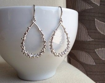 Silver Teardrop Hoop Earrings - Dibble Dabble Dots - gift, sister, daughter, mother, friend, graduation, birthday, bridesmaid, romantic