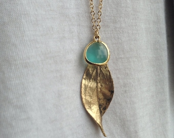 Antiqued Gold Twisted Leaf - Long Necklace - Mint opal glass drop, gift, mother, love, sister, wife, daughter, bridesmaid, romantic