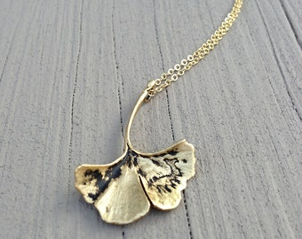 Golden Ginkgo Leaf Necklace - antiqued gold, long necklace - gift, botanical, bohemian, mother, sister, daughter, wife, friend, birthday