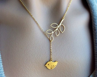 Birdy Dangle Lariat in Gold - gift, love, wife, mother, sister, daughter, bridesmaid, friend, romantic, expectant mother, birthday, mom
