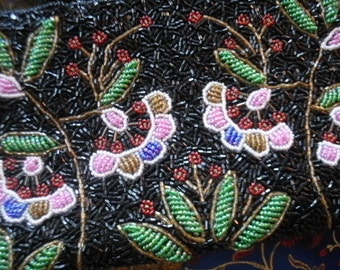 Heavy Beaded Floral Bag  Mint c.1990s