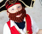 PDF Crochet Pattern - Crochet Beard and Bonus Beanie (detached style) for fun or photos (2-5y, 5-8y, young adult, adult)