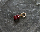 Tiny Ruby 14k Gold Filled Pendant, Wire Wrapped Gemstone July Birthstone - Add a Dangle