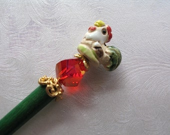 Roland the Rooster Beaded Hair Stick