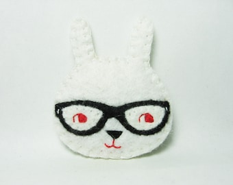 Curious bunny felt brooch - made to order