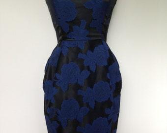 Rockabilly Pin Up Vintage Dress/ Matching Suit Jacket / Black Rich Blue Rose Pattern / Bridesmaid Spring Wedding / Unique 50s Style Dress