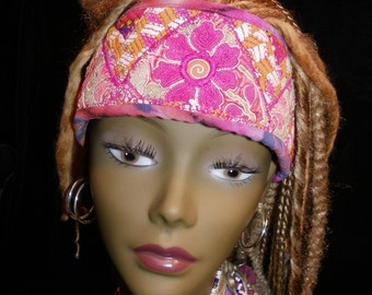 Headband Unisex Gypsy Boho Hippie Pink Orange Hmong Guatemalan Indian Gypsy Peace Crown Hair Women Gypsy Boho Hippie
