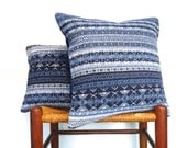 Pillow Knitted Blue Denim Upcycled Sweater Set Fair Isle