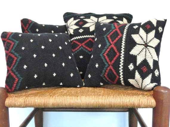 Knit Pillow Cover Set Snowflake Christmas Pillows