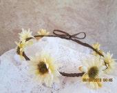 Beige Sunflower hair wreath - Sunflower Hair Wreath - Ribbon Sunflower Wreath - Floral Hair Crown