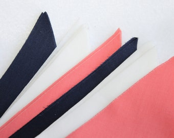 Fabric Wedding Bunting in Coral, Navy, White