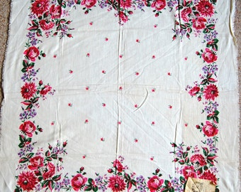 """Vintage Russian Scarf Shawl - Pavlovo Pavlov Posad - Floral on Ivory - Brand New - 32"""" inches square - From Russia / Soviet Union"""
