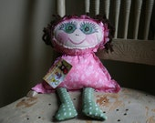 Claire: primitive, fabric doll, made from reclaimed fabric scraps - READY TO SHIP