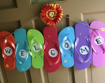 Flip Flop Welcome sign -- Summer Fun Door Hanger
