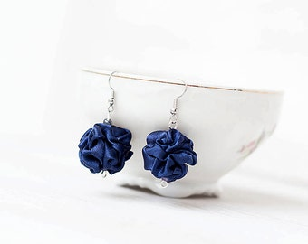 Dark Blue  fabric bead Earrings, ruffled textile earrings, fabric jewelry, textile jewelry, dangle earrings, Unique Gift for Her