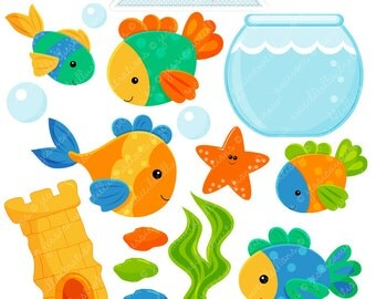 Fish Bowl Cute Digital Clipart - Commercial Use OK - Fish Clipart, Fish Graphics, Goldfish Theme