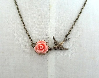 salmon pink rose with antique bronze bird connected necklace romantic necklace wedding shower bridemaids