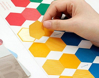 Bankbook  Hexagon Index Stickers - 6 sheets (3.4 x 5.6in)