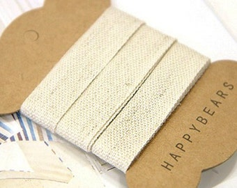 Beige Linen Label Tapes / S - 2 yards (0.6in)