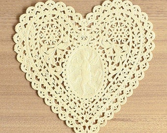 30 Lovely Cupid Heart Paper Doilies - Yellow (5.7 x 5.7in)