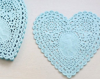 30 Lovely Cupid Heart Paper Doilies - Blue (5.7 x 5.7in)