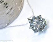iridescent grey . swarovski crystal pendant necklace . grey . gray . glacier gray . bridesmaid jewelry . gift idea .