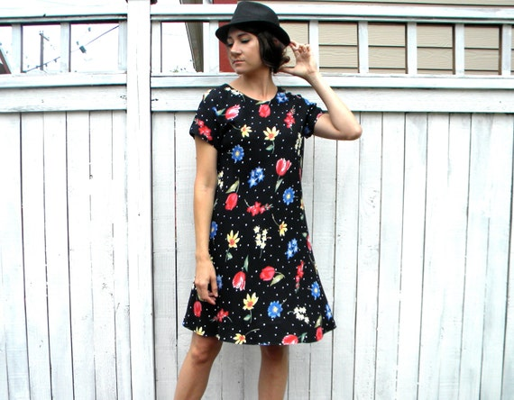 90s Black Print T Shirt Dress with Colorful Flowers, Small