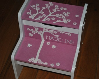 Kids Personalized 2 Step Stool - Pink Falling Leaves