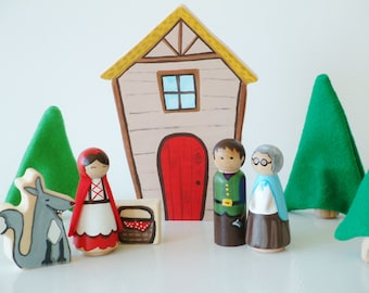 Little Red Riding Hood Wooden Toy Play Set - Wood and Felt - Peg Doll - Big Bad Wolf - Zooble