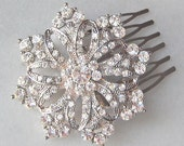 Rhinestone Comb, Bridal Hair Comb, Snowflake Holiday Comb - MERRY AND BRIGHT