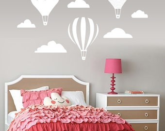 Vintage Hot Air Balloon and Cloud Wall Decal with Name Personalization