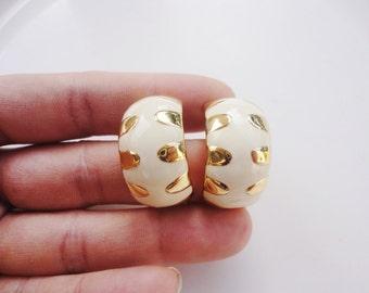 Clips hoops earrings clip on cream enamel earrings domed half hoops white and gold enamel