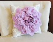 Lilac Dahlia Flower on Neutral Gray Tarika Pillow Accent Pillow Throw Pillow Toss Pillow